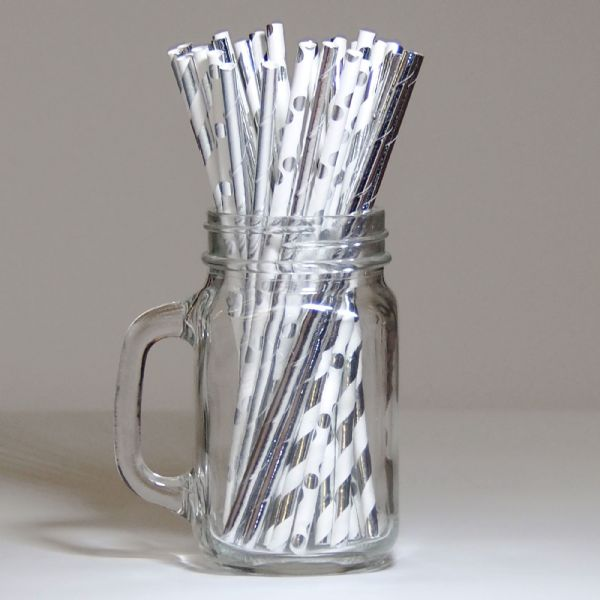 Pack Of  30 Silver Paper Straws